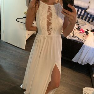 White lace halter dress with slit
